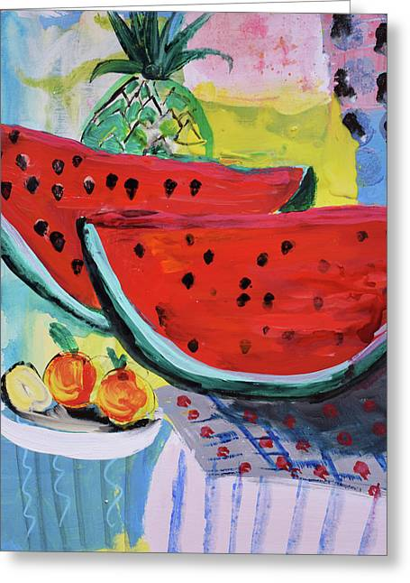 Two Watermelons And Pineapple Greeting Card by Amara Dacer