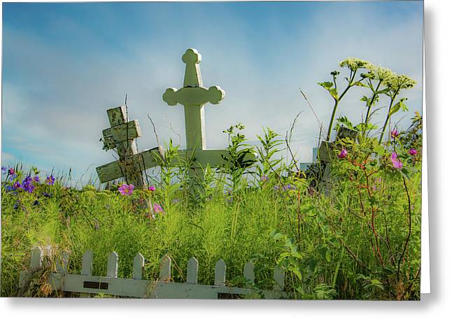 Two White Crosses Greeting Card by Edie Ann Mendenhall