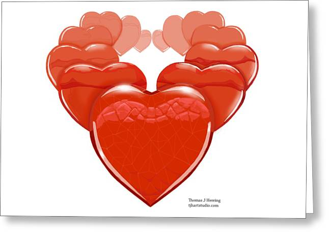 Greeting Card featuring the digital art Two Hearts Become One by Thomas J Herring