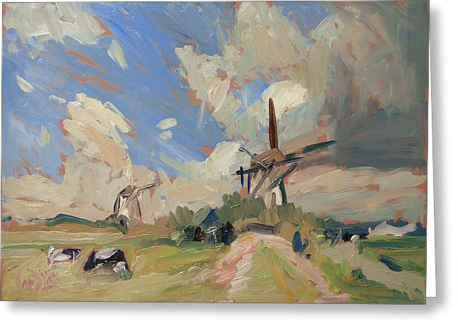 Two Windmills Greeting Card by Nop Briex