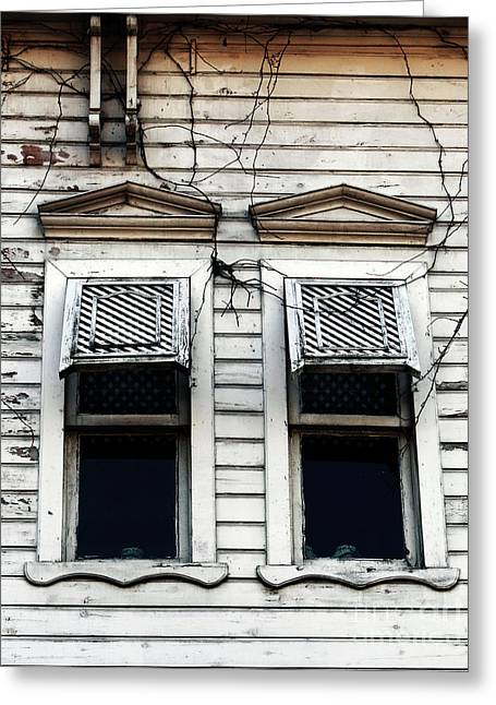 Two Windows Greeting Card by John Rizzuto