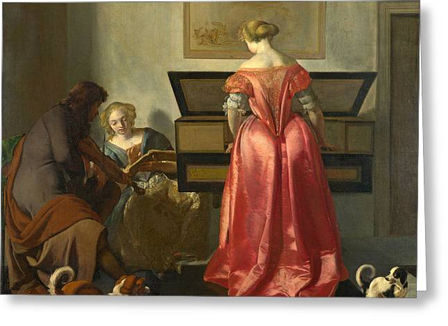 Two Women And A Man Making Music Greeting Card by Jacob Ochtervelt