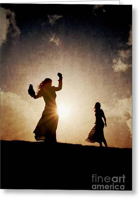 Two Women Dancing At Sunset Greeting Card