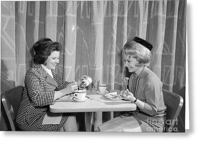 Two Women Having Lunch, C.1960s Greeting Card