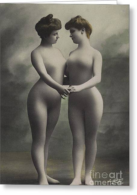 Two Women In Bodystockings Greeting Card by French School