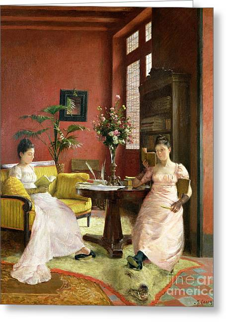Two Women Reading In An Interior  Greeting Card by Jean Georges Ferry