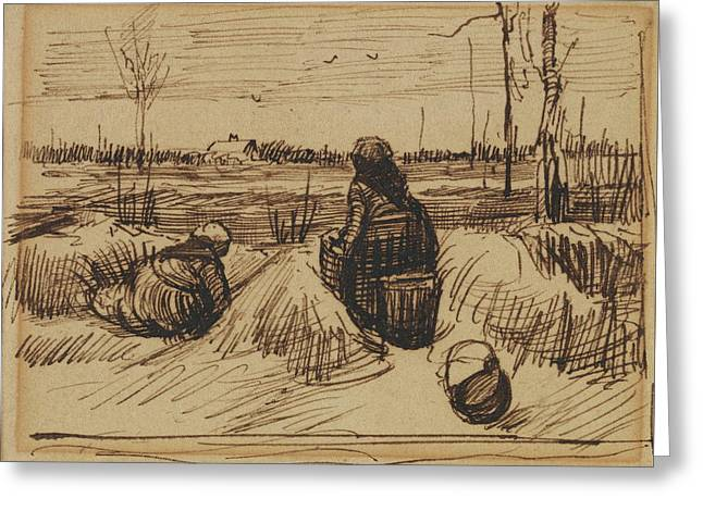 Two Women Working In The Fields, 1885 Greeting Card