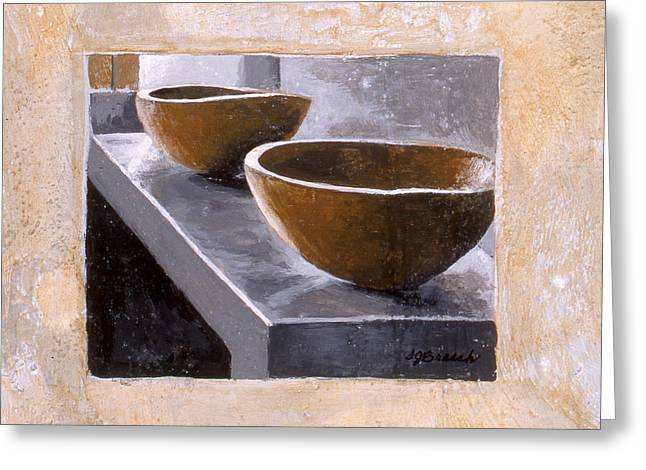 Two Wooden Bowls Greeting Card