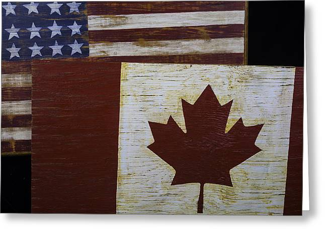 Two Wooden Flags American And Canadian Greeting Card
