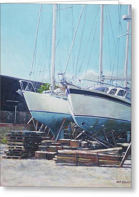 Greeting Card featuring the painting Two Yachts Receiving Maintenance In A Yard by Martin Davey
