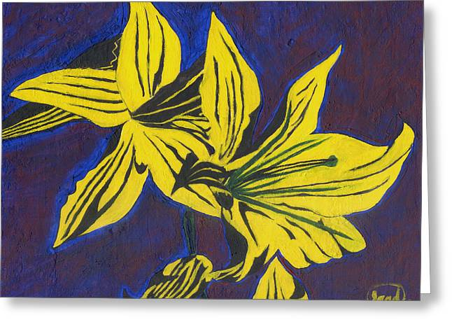 Greeting Card featuring the painting Two Yellow Lilies by Saad Hasnain