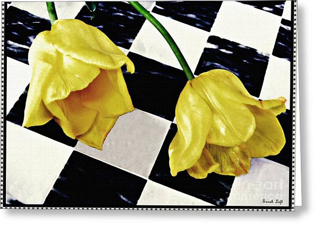 Two Yellow Tulips On The Checker Board Greeting Card by Sarah Loft