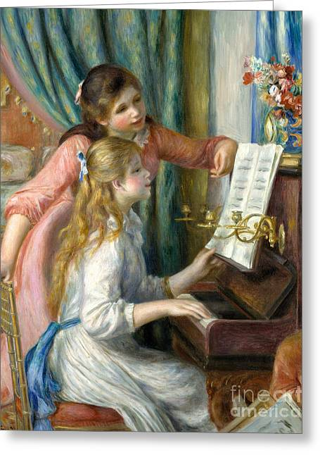 Two Young Girls At The Piano, 1892  Greeting Card