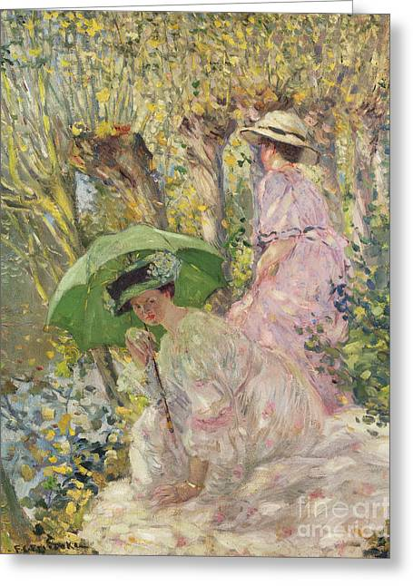 Two Young Girls In A Garden Greeting Card by Frederick Carl Frieseke