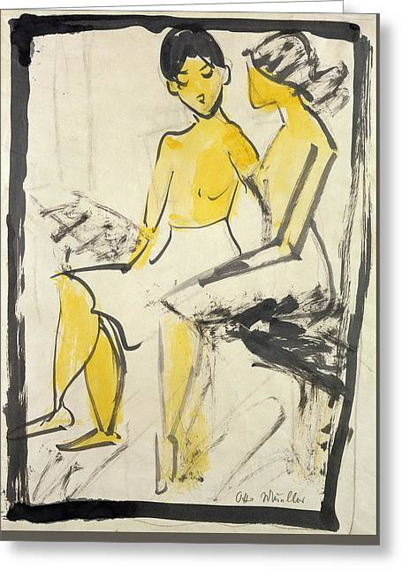 Two Young Girls Greeting Card by Otto Muller