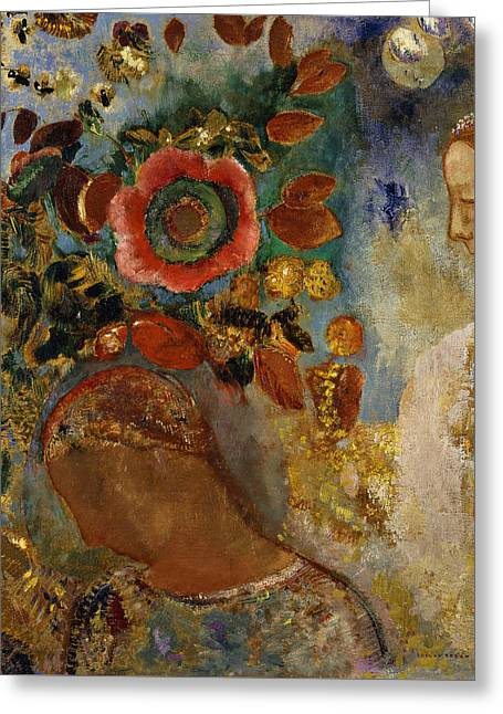 Two Young Girls With Flowers Greeting Card by Odilon Redon