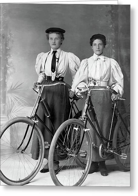 Two Young Ladies With Their Bicycles Circa 1895 Greeting Card