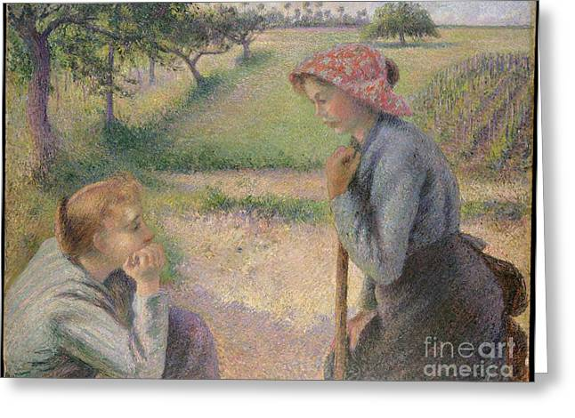 Two Young Peasant Women Greeting Card by Celestial Images