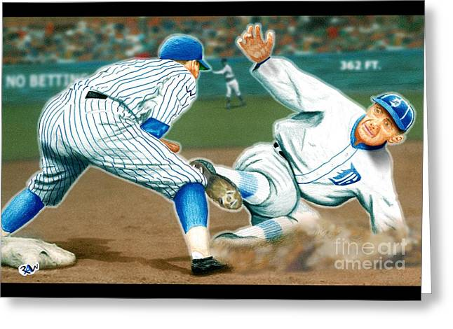 Ty Cobb Coming In Hot Greeting Card by Robert Williams