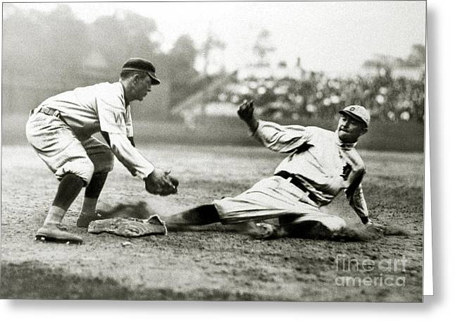 Ty Cobb Safe At Third  Greeting Card