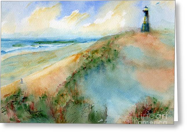 Tybee Dunes And Lighthouse Greeting Card