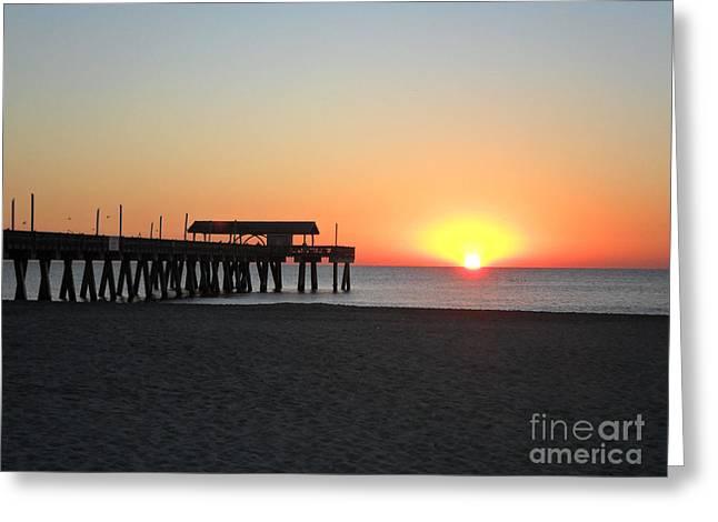 Tybee Island Pavilion At Sunrise Greeting Card by Doris Blessington