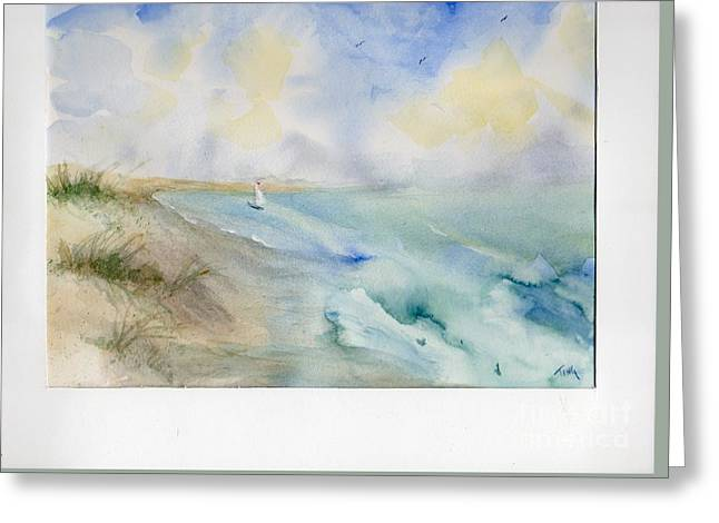 Greeting Card featuring the painting Tybee Memory by Doris Blessington