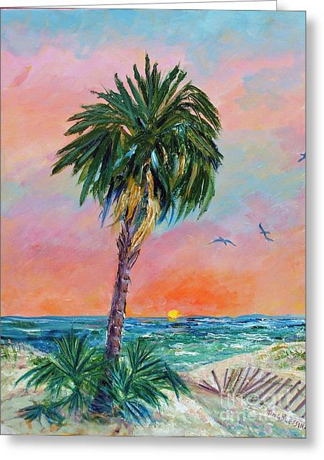 Tybee Palm At Sunrise Greeting Card by Doris Blessington