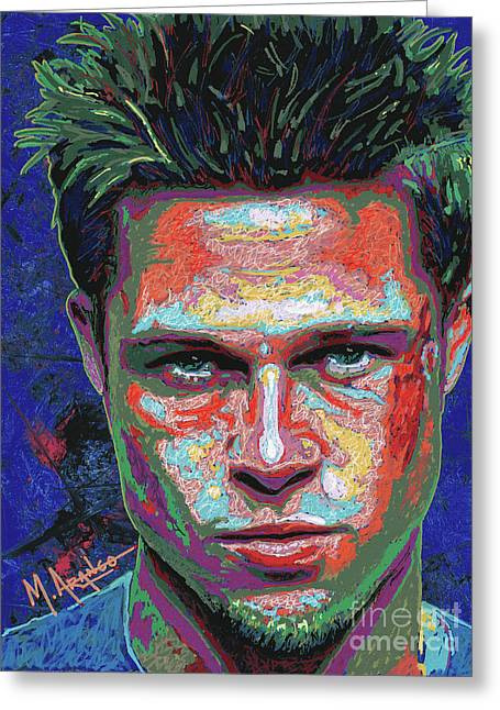 Tyler Durden Lives Greeting Card by Maria Arango