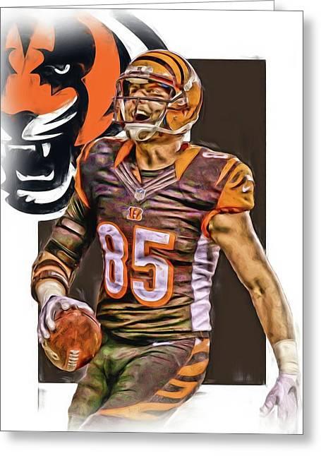 Tyler Eifert Cincinnati Bengals Oil Art Greeting Card by Joe Hamilton