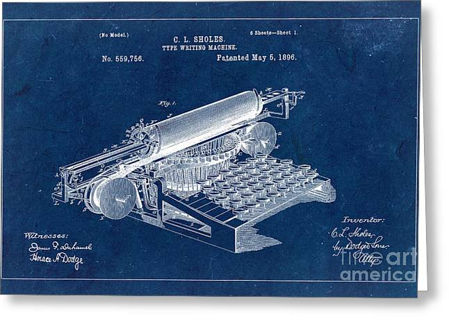 Type Writing Machine Patent From 1896 - Blue Greeting Card by Delphimages Photo Creations