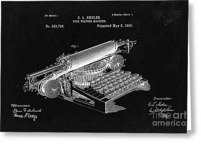 Type Writing Machine Patent From 1896  - Black Greeting Card