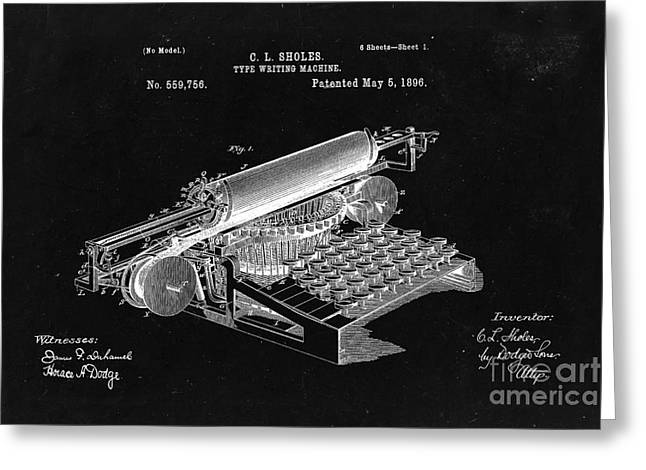 Type Writing Machine Patent From 1896  - Black Greeting Card by Delphimages Photo Creations