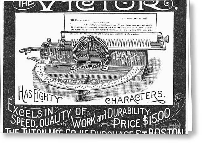 Typewriter Ad, 1890 Greeting Card by Granger