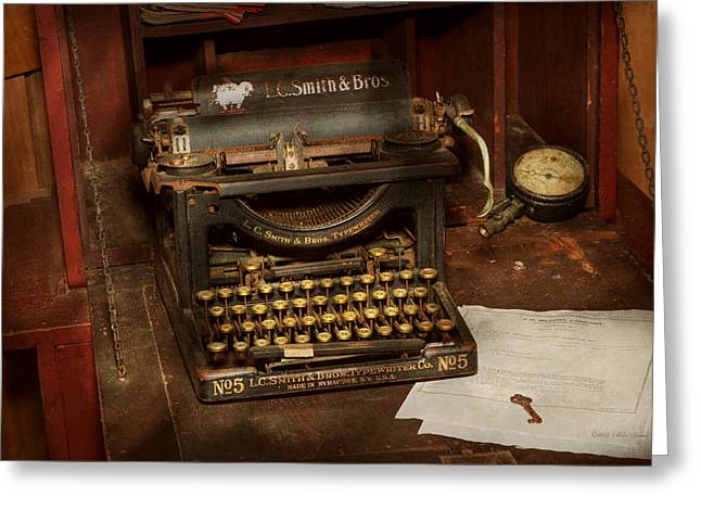 Typewriter - My Bosses Office Greeting Card by Mike Savad