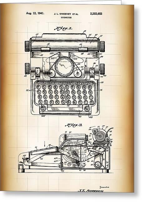 Typewriter Patent 1941 Greeting Card