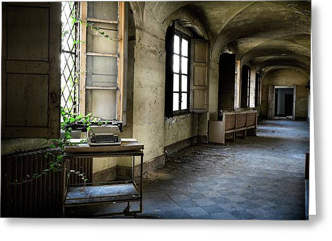 Greeting Card featuring the photograph Typewriter Story Of Abandoned Building - Urbex Exploration by Dirk Ercken