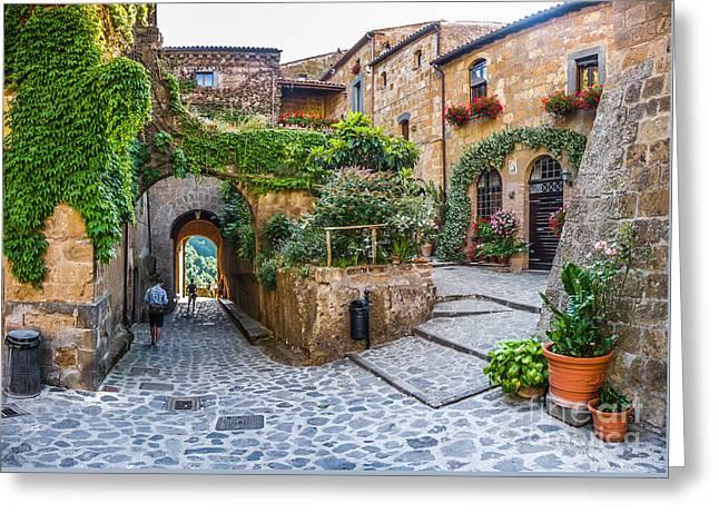 Typical Alley Way In Civita Di Bagnoregio, Lazio, Italy Greeting Card by JR Photography