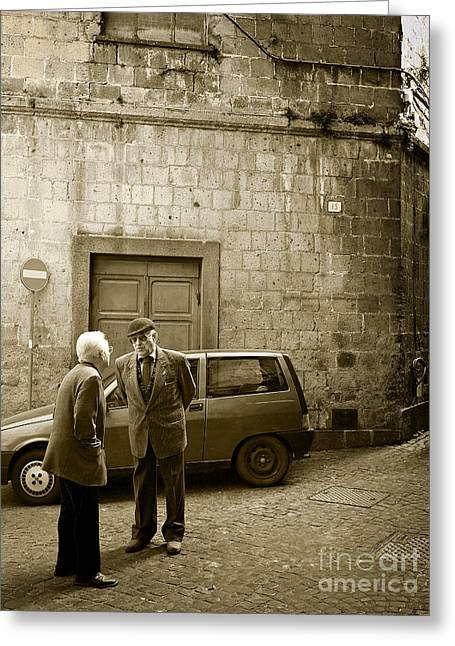 Greeting Card featuring the photograph Typical Italian Street Scene In Sepia by IPics Photography