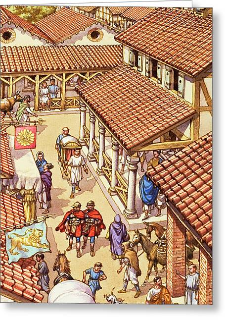 Typical London Street In Roman Times Greeting Card by Pat Nicolle