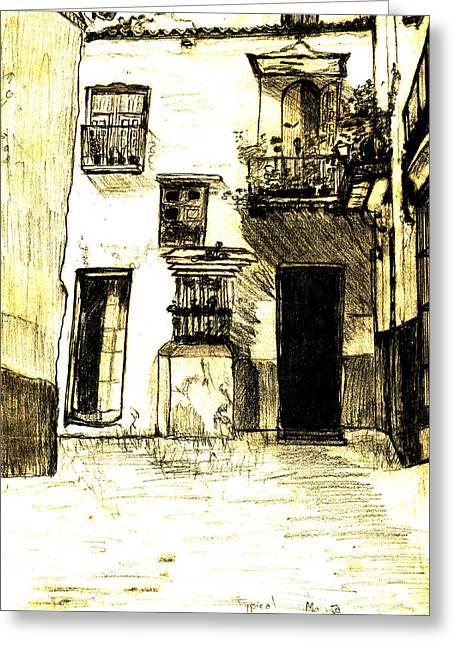 Typical Malaga Greeting Card by Linda Hubbard Red Cap Art