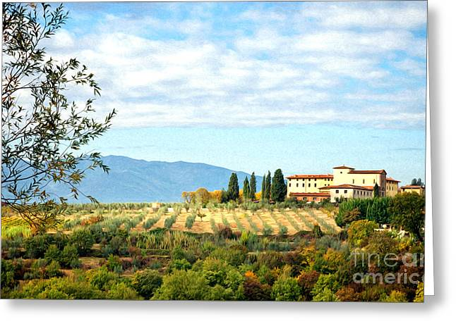 Typical Tuscan Hill Greeting Card by Antonio Gravante