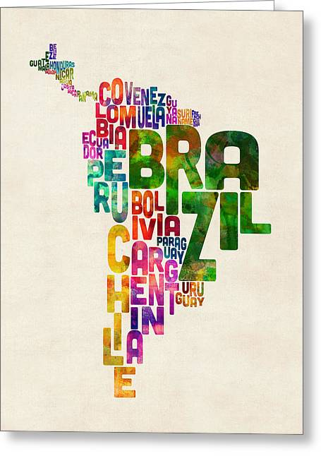 Typography Map Of Central And South America Greeting Card