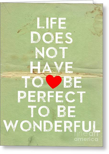 Typography Quote Poster - Inspirational - Perfect Life Greeting Card
