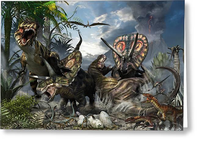 Tyrannosaurus And Torosaurus Greeting Card by Kurt Miller