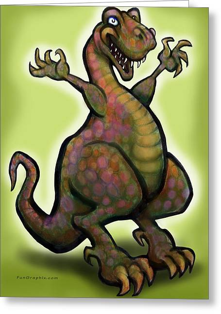 Greeting Card featuring the digital art Tyrannosaurus Rex by Kevin Middleton