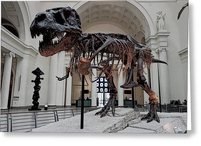 Greeting Card featuring the digital art Tyrannosaurus Rex Sue - Chicago by Daniel Hagerman