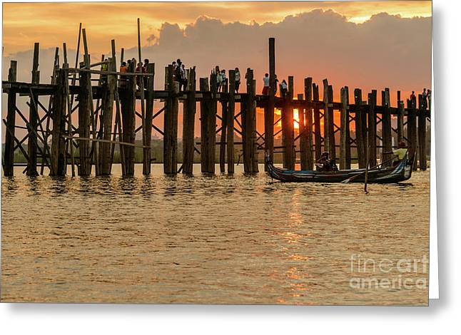 U-bein Bridge Greeting Card by Werner Padarin