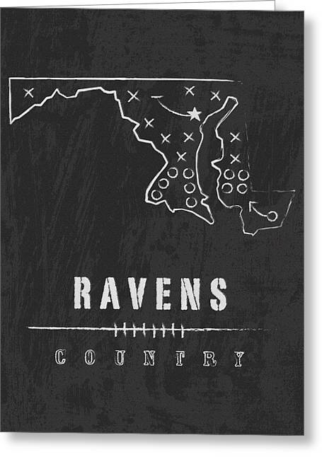 Baltimore Ravens Art - Nfl Football Wall Print Greeting Card by Damon Gray