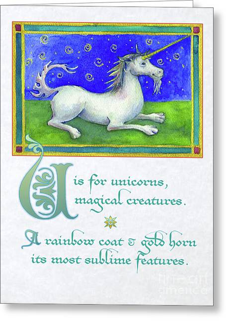 Greeting Card featuring the digital art U Is For Unicorn by Lora Serra